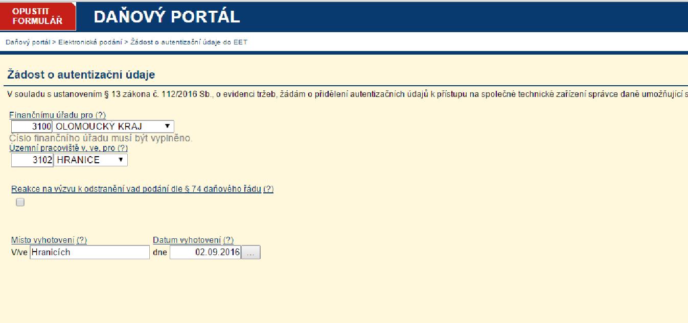 První část on-line žádosti o autentifikační údaje