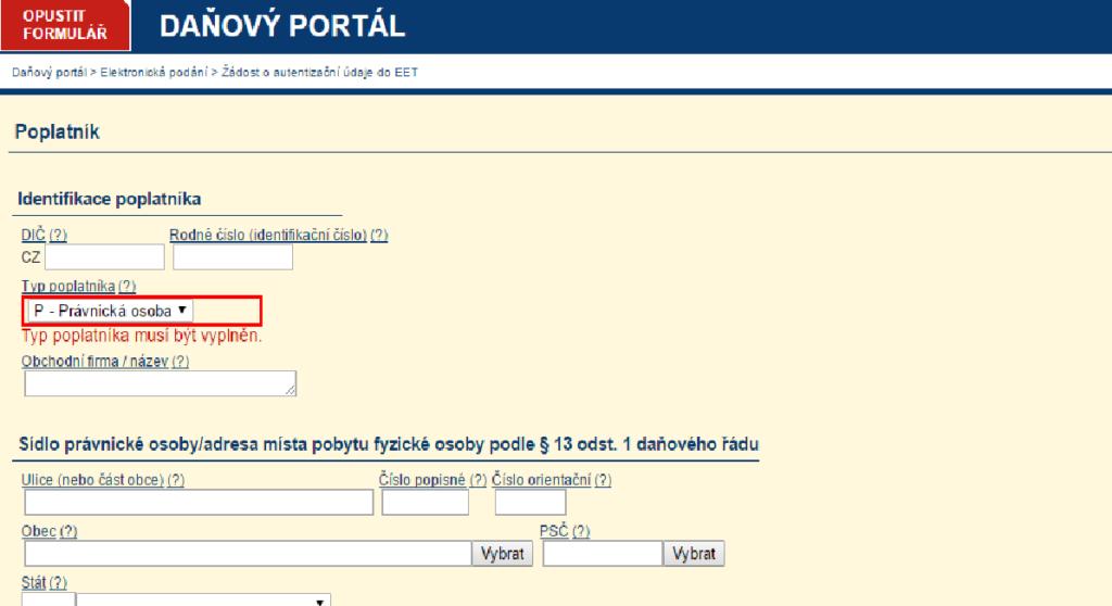 2. část žádosti o autentifikační údaje k EET
