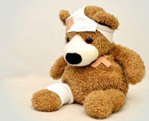 nemocný plyšový medvídek