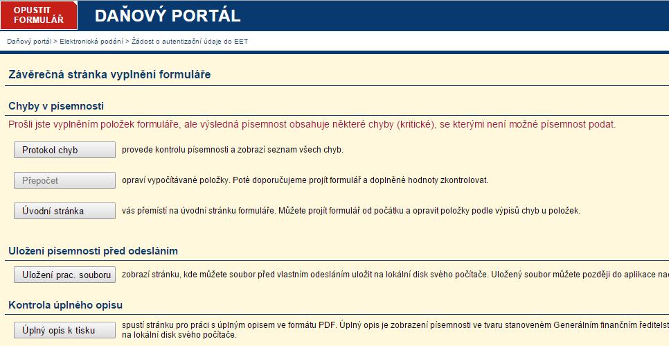4. list formuláře se žádostí o autentifikační údaje k EET