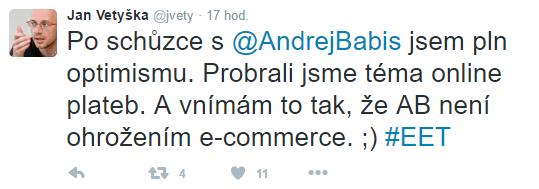 Tweet, který Jan Vetyška zveřejnil po své schůzce s Andrejem Babišem.