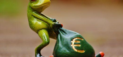 žába s pytlem peněz